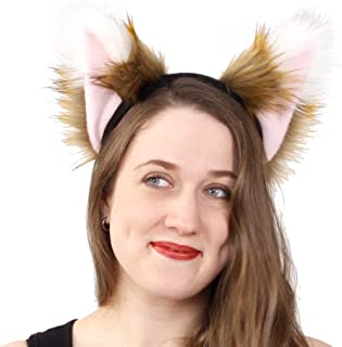 c86d43cb297 Pawstar Spicy Fox Furry Ear Headband Realistic Rust Tan Brown Costume