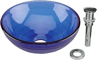 Blue Mini Glass Vessel Sink Round Tempered Glass Drain Included Above Counter Basin Renovators Supply Manufacturing 12