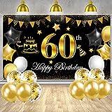 60 Geburtstag Banner, 60 Geburtstag Dekoration Schwarzes
