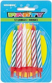 Unique Party - 1940 - Assortiment de 12 Bougies d'Anniversaire à Rayures dans Bougeoirs