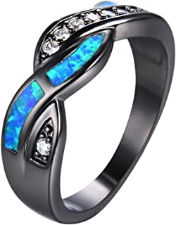 Wave Blue Fire Opal CZ Cross Band Wedding Ring Black Gold Jewelry Gift (9)