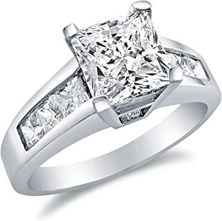 Solid 925 Sterling Silver Princess Cut Solitaire with Princess Cut Side Stones CZ Cubic Zirconia Engagement Ring 1.75ct. with Elegant Velvet Ring Box