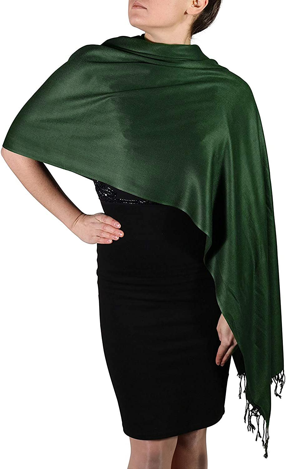 TMS Large Soft Silky Pashmina Scarf For Women Cashmere Scarves Stylish Warm Blanket Solid Winter Shawl Wrap Hijab
