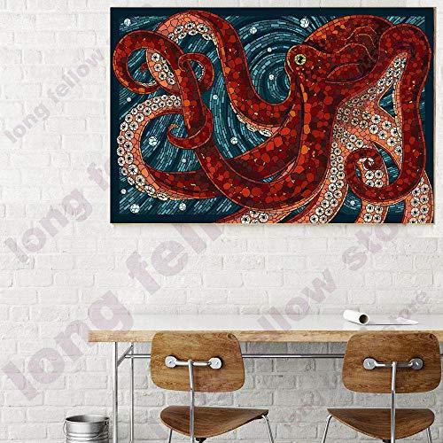 HENGCHENG Kunstdrucke Geschenk DIY Anzahl Malerei Cartoon Tiere Färbung Durch Zahlen Abstrakte Grafik Octopus Poster Wandkunst Bild Für Schlafzimmer Wanddekor, 24 Farben, 50X75 cm Kein Rahmen