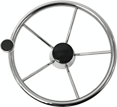 DasMarine 5-Spoke 13-1/2 Inch Boat Steering Wheel, 304 Stainless Steel Destroyer Style Knurling Wheel Anti-skidding Excellent Feeling to Hold with M Size Knob Compatible for Most Marine Yacht Boat