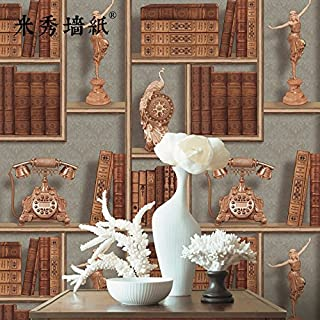 Axb-dmg 3D Creative Bookshelf Vintage Retro European Cafe Study Personality Stereoscopic Wallpaper