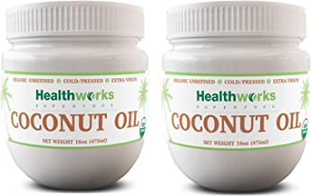 Healthworks Coconut Oil (32 Ounce / 2 Pound) (2 x 16 Ounce Jar) I Organic & Unrefined I Extra Virgin, Cold-Pressed, Keto, ...