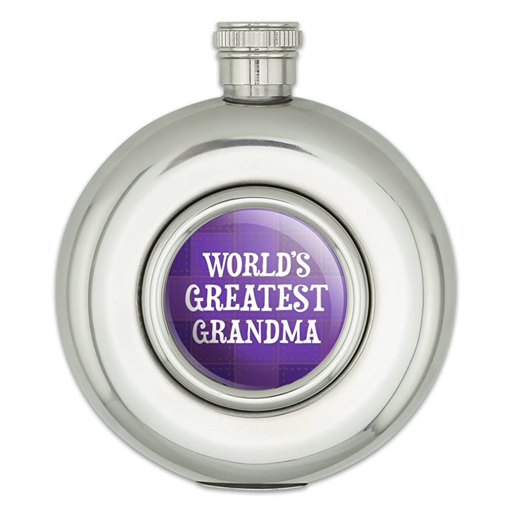 World's Greatest Grandma Grandmother Purple Round Stainless Steel 5oz Hip Drink Flask
