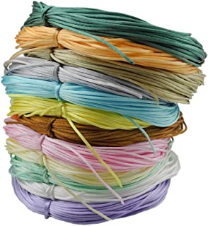 Inspirelle 12-Color 1.2mm Satin Nylon Trim Cord Rattail Silk Cord Chinese Knot Thread for Jewelry Making (20 Yards Each Color, Light Colors)
