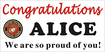 [Vinyl] Alice Graphics 2ftX4ft Custom Personalized Congratulations US Marine Corps Basic Military Training (BMT) Boot Camp Graduation Banner Sign