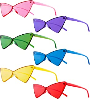 Colorful One Piece Rimless Transparent Cat Eye Sunglasses for Women Tinted Candy Colored Glasses