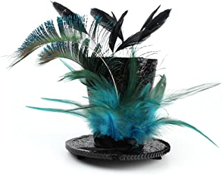 Mini Top Hat Feather Fascinator Cocktail