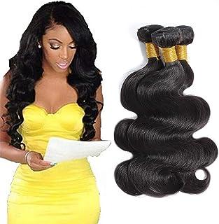 Selina Hair 8A Brazilian Body Wave Human Hair Bundles 3 Bundles 300g Full Head Set Remy Hair Unprocessed Human Hair Weave Natural Black Color Cheap Human Hair (10 12 14 Inch,Natural Black)