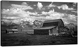 LevvArts Grand Teton National Park Picture Canvas Wall Art Black and White Moulton Barn Poster Prints USA Landscape Wyoming Canvas Artwork for Home Living Room Decor Framed Ready to Hang