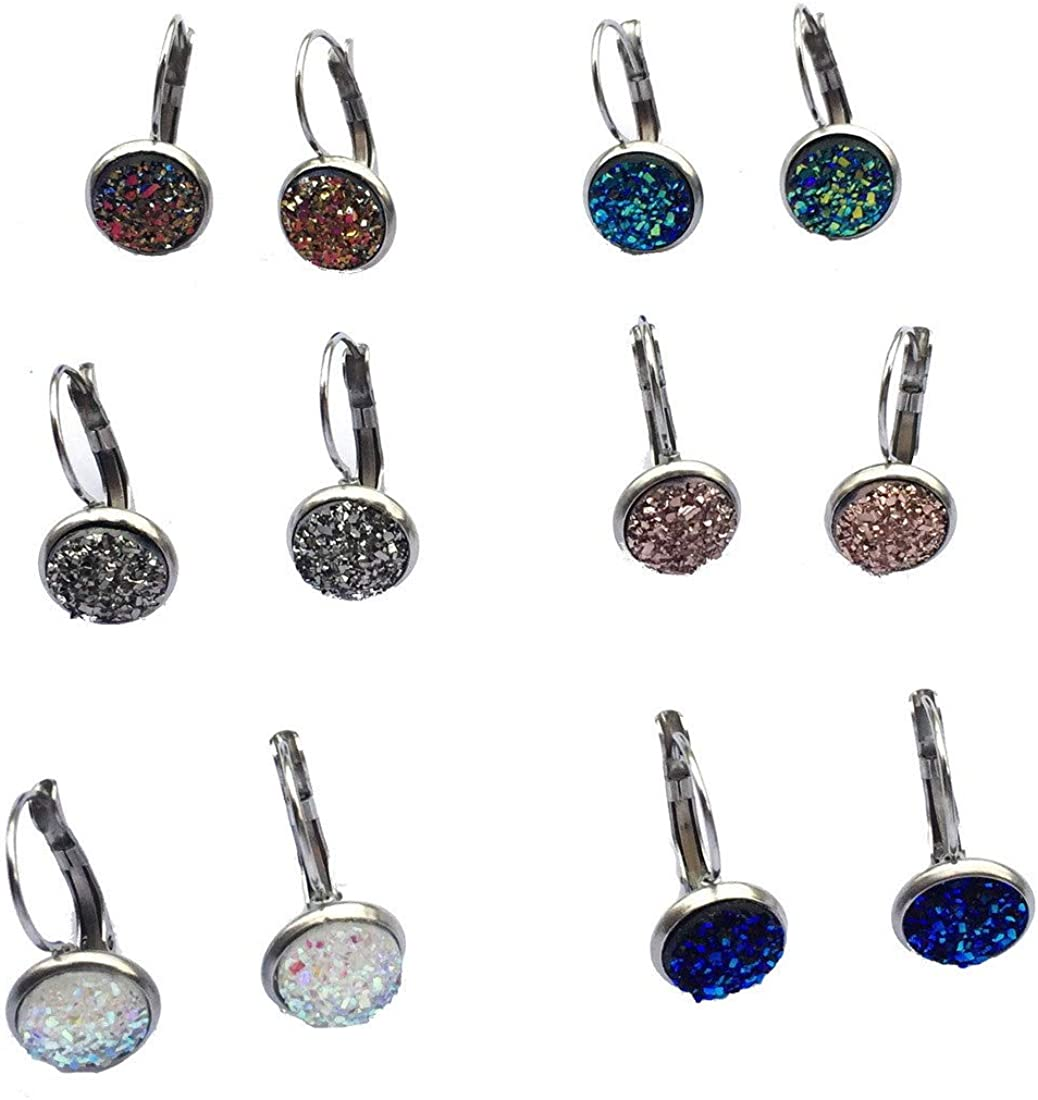 8mm 10mm 12mm Round Shaped Assorted Colors Acrylic/Resin/Druzy/Mermaid/Cat Eye Crystal Stone Stainless Steel Leverback Clip on Earrings for Women Everyday Birthday Party Elegant Jewelry