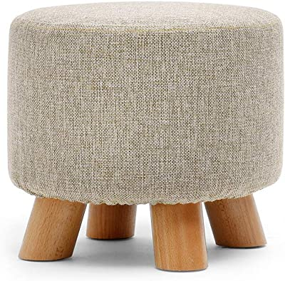Round Footstool Ottoman Pouffe Chair Stool Upholstered(Gray)