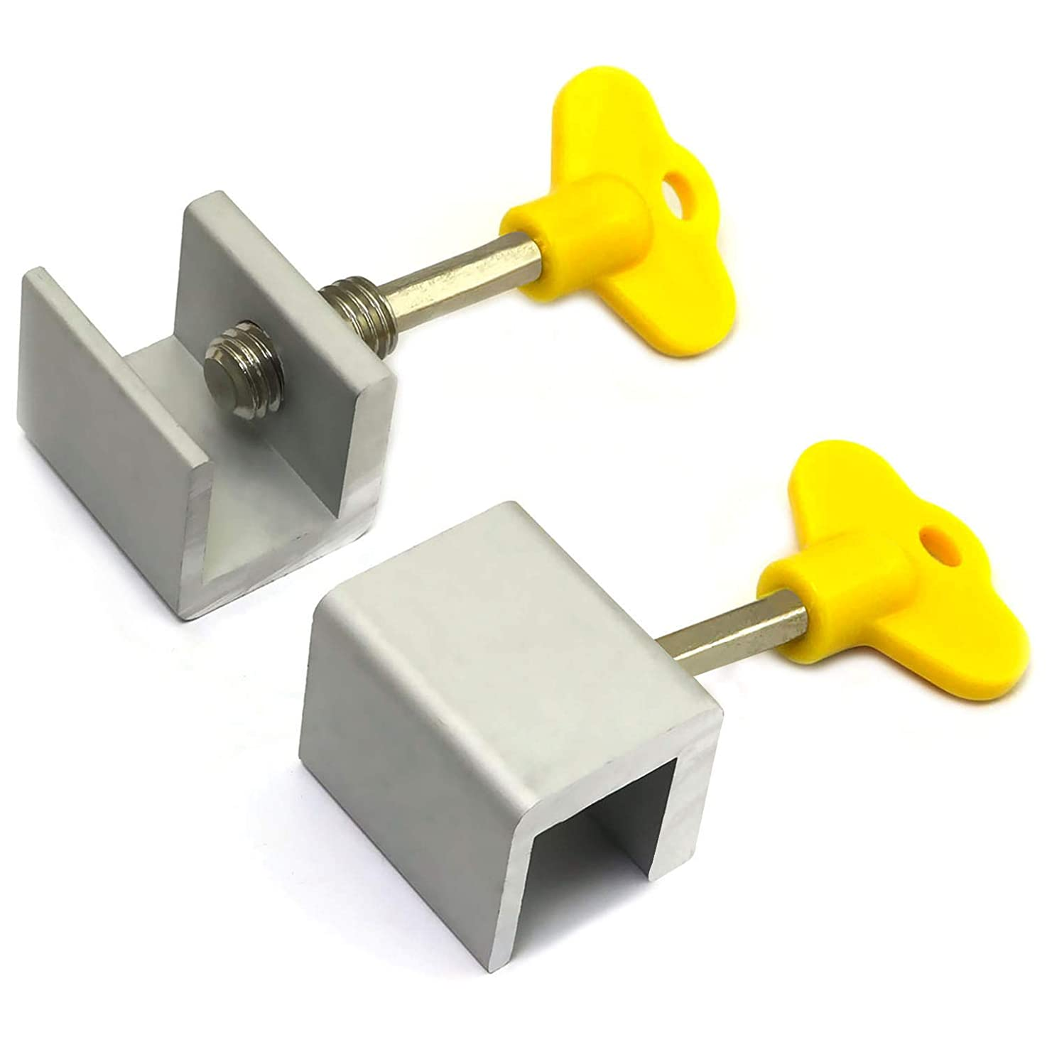 E-outstanding 2PCS Adjustable Sliding Window Locks Aluminum Alloy Door Frame Security Locks with Key