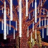 Ponwec Meteor Shower Rain Lights 12.2 inch 24 Tubes 576 LEDs Falling Rain Lights Icicle Rain Drop Lights Waterproof Cascading Lights for Christmas Halloween Holiday Party Wedding Patio Outdoor (White)