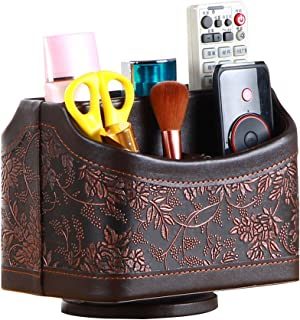 Antique Leather Remote Control Holder, 360 Degree Spinning Desk TV Remote Caddy/Box, Bedside Table Organizer for Controller, Media, Calculator, Mobile Phone and Pen Storage