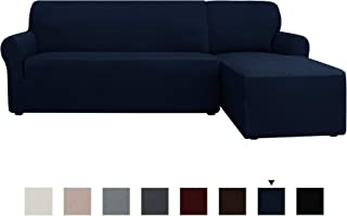 CHUN YI 2 Pieces Rhombus 2 Seats Sofa Stretch Fabric L-Shaped Sectional Couch Covers Dust-Proof Furniture Protector(Right Chaise,Dark Blue)