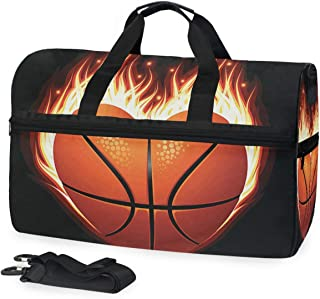 Gym Yoga Bag Heart Shaped Basketball Travel Overnight Luggage Foldable Duffle Bag for Women Men 45L