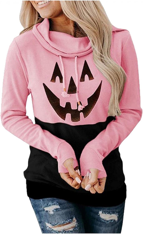 Halloween Hoodies for Women Drawstring Pullover Cute Pumpkin Print Sweatshirt Cowl Neck Long Sleeve Hooded Blouses Tops