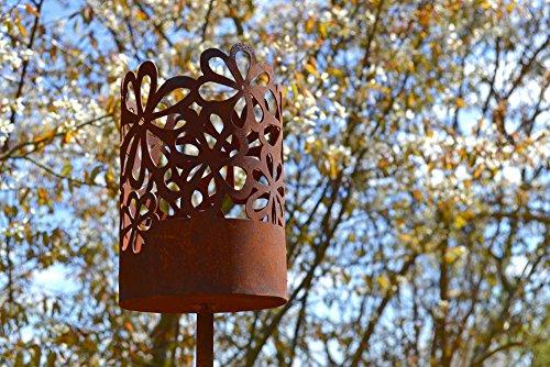 Unbekannt Windlicht Hippie inkl. Kerze Rost Edelrost Metall Deko Dekoration Gartenstecker Rostfigur Deko-Idee Dekowindlicht Rostdeko Gartendeko Geschenk-Idee Geschenk
