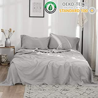 Simple&Opulence Belgian Linen Sheet Set 4PCS Stone Washed Solid Color(Queen,Grey)