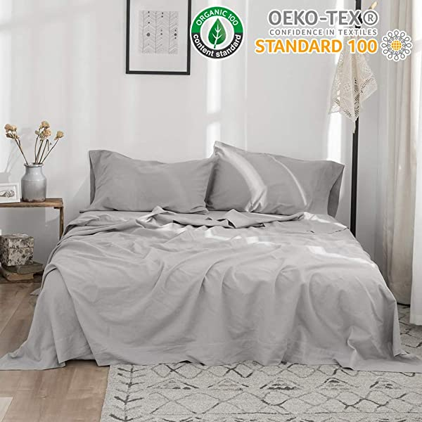 Simple Opulence Belgian Linen Sheet Set 4PCS Stone Washed Solid Color Queen Grey