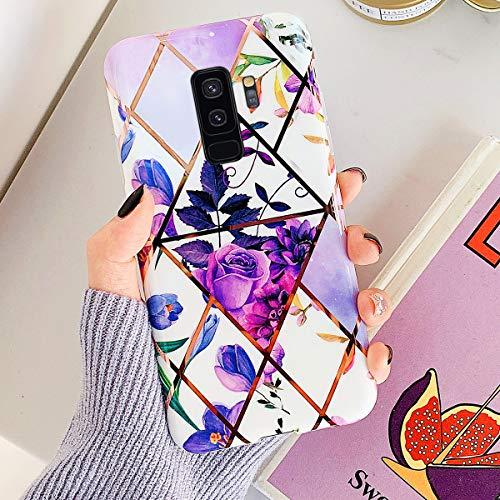 Uposao Kompatibel mit Samsung Galaxy S9 Plus Marmor Hülle Case Glitzer Marmor Blumen Muster Weiche TPU Silikon Ultra Dünn Hülle Schutzhülle Kratzfest TPU Bumper Handytasche Case Cover,Lila