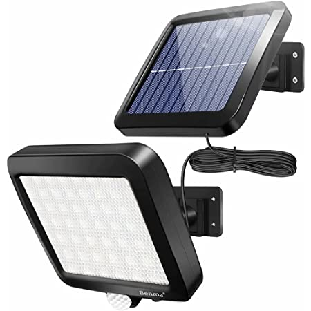 ソーラーライト 屋外 56LED センサーライト モーションディテクタ 超高輝度 屋外照明 防犯ライト IP65防水 屋外ウォールライト 太陽光発電 人感センサー自動点灯 ガーデンライト 5Mケーブル /駐車場/玄関/廊下/軒先/庭先