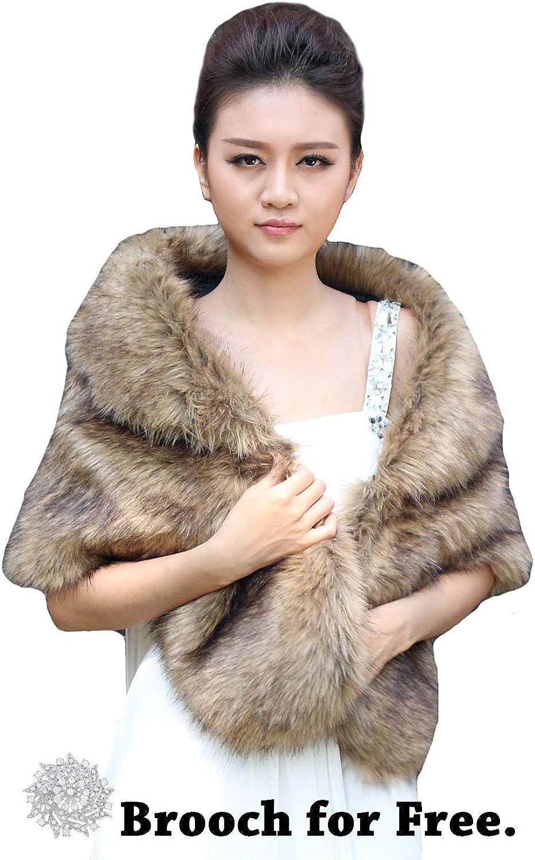 Barogirl Women's Faux Fur Shawls and Wraps with Brooch Fur Stole Wedding Fur Shrug for Women