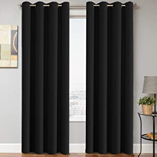 H.VERSAILTEX Blackout Thermal Insulated Curtains (2 Panels) Grommet Window Drapes - (Solid Black Color) - 52 inch Wide by 84 inch Long