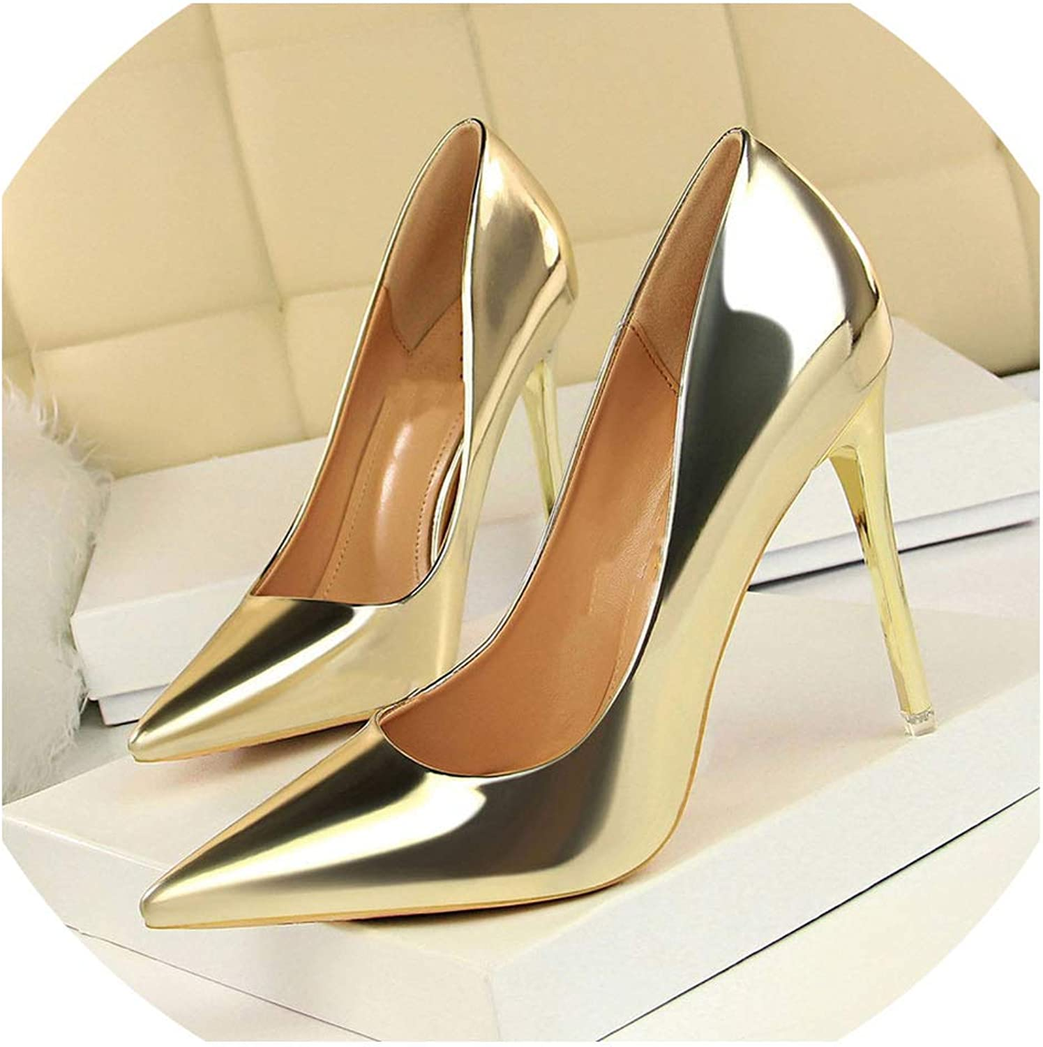Axd-Home Patent Leather Thin Heels Office Women shoes High Heels shoes Women's Pointed Toe