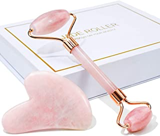 Jade Roller & Gua Sha, Face Roller, Facial Beauty Roller Skin Care Tools, BAIMEI Rose Quartz Massager for Face, Eyes, Nec...