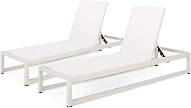 Christopher Knight Home 311947 Eudora Outdoor Chaise Lounge (Set of 2), White