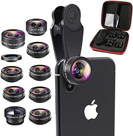 Aokin Phone Lens Kit, 10 in 1 Cell Phone Camera Lens, Wide Angle Lens+15X Macro Lens+198° Fisheye Lens+Telephoto Lens+CPL/Flow/Radial/Star Filter+Kaleidoscope 3/6 Lens for iPhone Android and Tablets