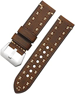 watchbands Grains Thick Real Genuine Leather Watch Strap 26mm 24mm 22mm 20mm Watch Band Silver Watches Wristband for Panerai Watchbands-brown-20mm
