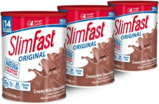 SlimFast Original Creamy Chocolate Meal Replacement Shake Mix – Weight Loss Powder – 12.83oz. – 14 servings - Pack of 3