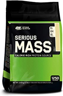 Optimum Nutrition ON Serious Mass Proteína en Polvo Mass Gainer, con Vitaminas, Creatina y Glutamina, Vainilla, 16 porciones, 5.45 kg, Embalaje puede variar