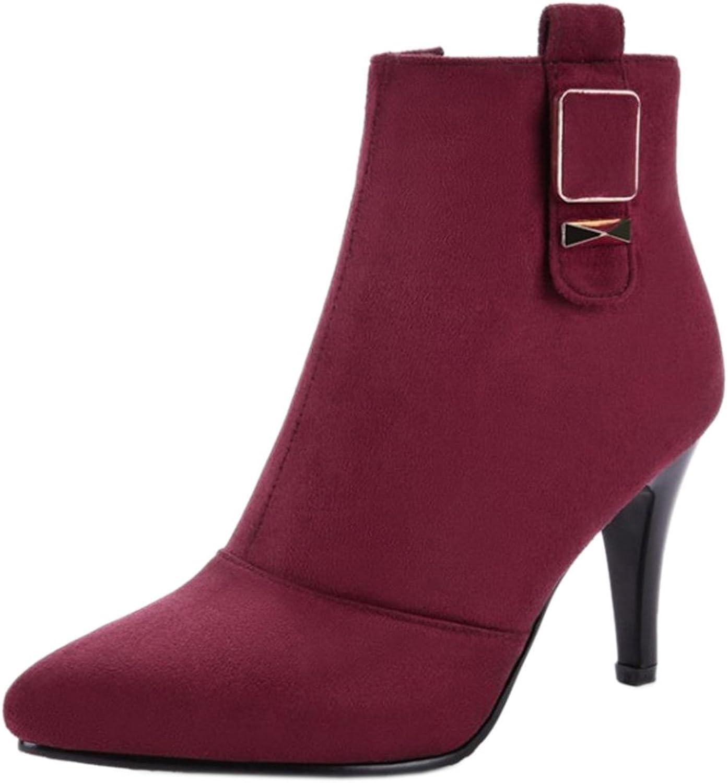 KemeKiss Women Fashion Solid Footwear Zipper High Heel Boots