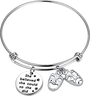 Theater Bracelet She Believed She Could So She Did Comedy Tragedy Masks Charm Jewelry Drama Teacher Thespian Motivational Gift