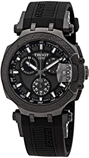 Men's T-Race Chrono Quartz 316L Stainless Steel case with Black and Grey PVD Coating Swiss Silicone Strap, 22 Casual Watch (Model: T1154173706103)