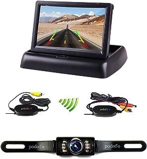 """Podofoカーモニター4.3""""液晶折りたたみモニターサポートワイヤレスバックアップカメラ2ビデオ入力逆リアビュー駐車システムキット12ボルト"""