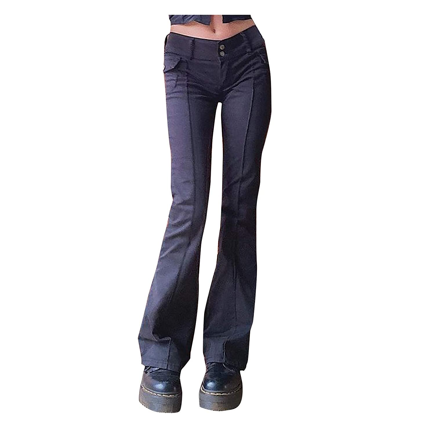 Moonite Women's Retro Black Bell Bottom Jeans Sexy Low-Waist Micro Flare Jeans Trousers Wild Thin Denim Pants Small