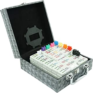 LEQUPLAY Mexican Train Number Dominoes Set Double 12 Dominoes 91 Tiles Games with Leather Box , Number Dominoes Set for Ki...