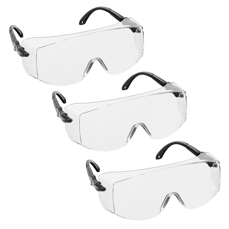 3 x voltX 'OVERSPECS' Sobremontura para Gafas de Seguridad Industrial (Lentes Transparentes) con certificación CE EN166F, ajuste de sien individual, antivaho, resistentes a los arañazos, con protecció
