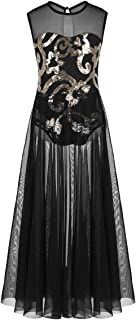 Kids Girls Floral Sequins Spirit Praise Lyrical Dance Costume Tank Leotard Maxi Skirt
