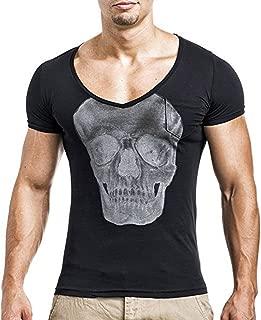 Zackate Mens Skull Printed V-Neck T-Shirts Short Sleeve Slim Fit Gym Tops Shirts