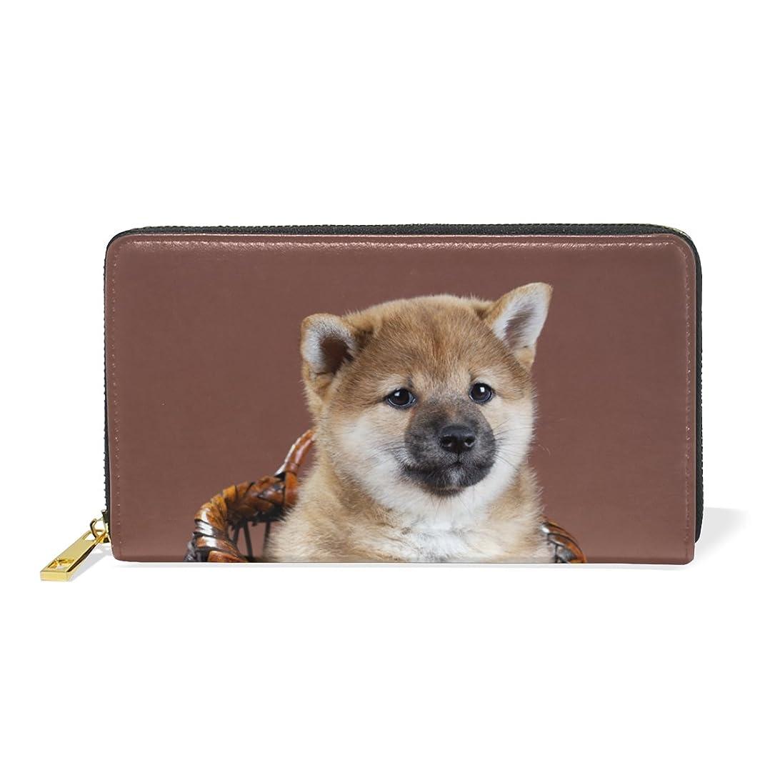 超えて規模壊す旅立の店 長財布 人気 レディース メンズ 大容量多機能 二つ折り ラウンドファスナー 本革  子犬 柴犬 ウォレット